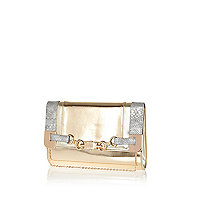 Gold metallic colour block snaffle clutch bag