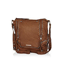 Brown zip trim messenger bag