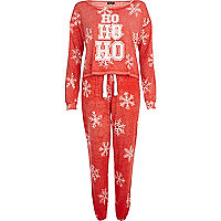 Red ho ho ho print Christmas pyjama set