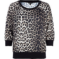 Brown leopard print dolman top
