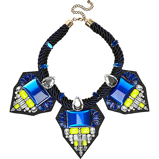 Blue cord leather backed statement necklace