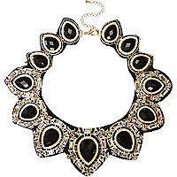 Black fabric backed statement necklace
