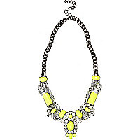 Fluro yellow short statement necklace