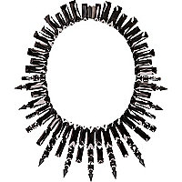 Black crystal spike statement necklace