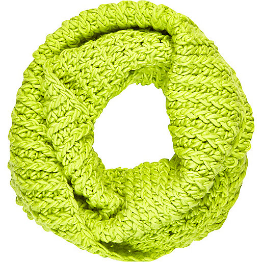 Lime chunky knit snood