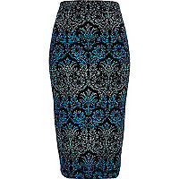 Blue ombre baroque tube skirt