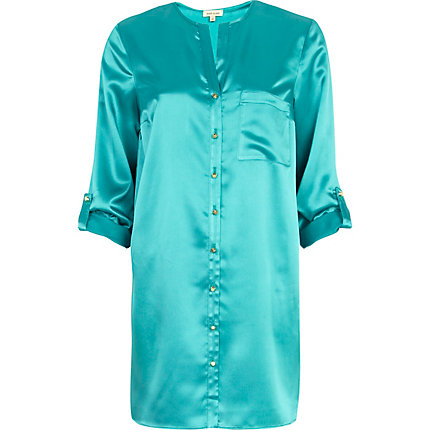 Green silky roll sleeve shirt dress