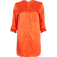 Orange silky roll sleeve shirt dress