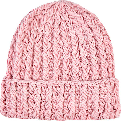 Light pink chunky knit beanie hat
