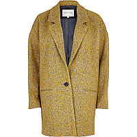 Mustard yellow boucle oversized coat