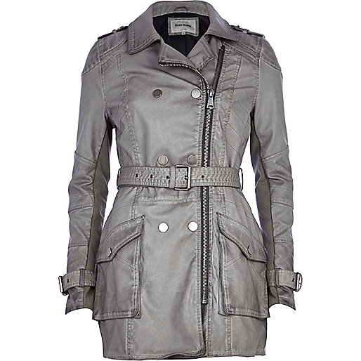 Grey leather-look trench coat