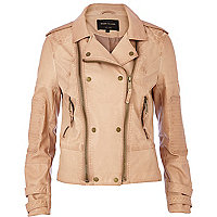 Light brown double zip biker jacket