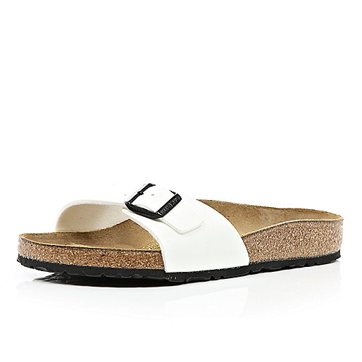 White Birkenstock single strap mule sandals