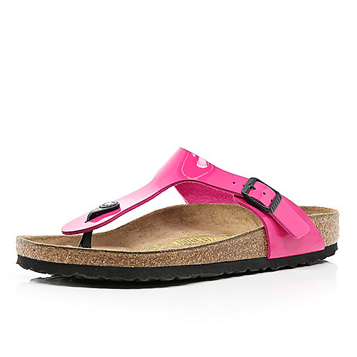 Bright pink Birkenstock T bar mule sandals