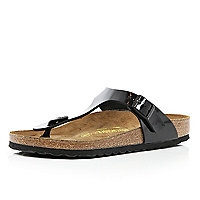 Black patent Birkenstock T bar mule sandals