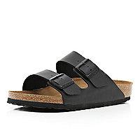 Black Birkenstock double strap mule sandals