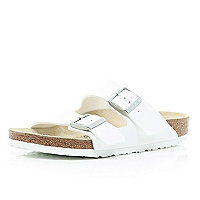 White Birkenstock double strap mule sandals