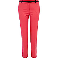Pink contrast trim cigarette pants