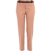 Beige contrast trim cigarette pants