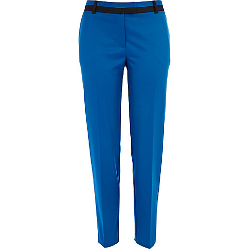 Blue contrast trim cigarette pants