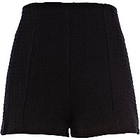 Black boucle high waisted shorts
