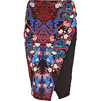 Red oriental print wrap skirt