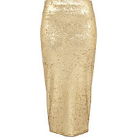 Gold flocked velvet tube skirt