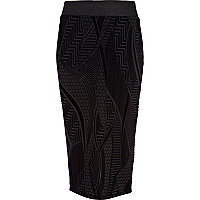 Black flocked pattern pencil skirt