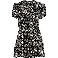Black and white tile print playsuit
