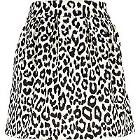 Cream animal print full skirt