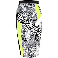 Black mixed print colour block pencil skirt
