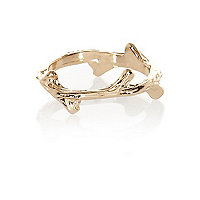 Gold tone twig finger top ring