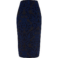 Blue swirl jacquard pencil skirt