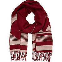 Dark red aztec blanket scarf
