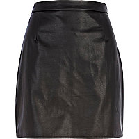 Black leather-look A line skirt