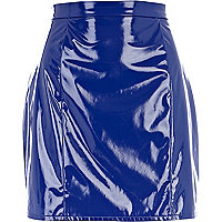 Blue high shine A line skirt