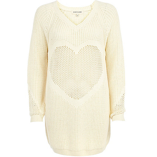 Cream mesh heart jumper dress