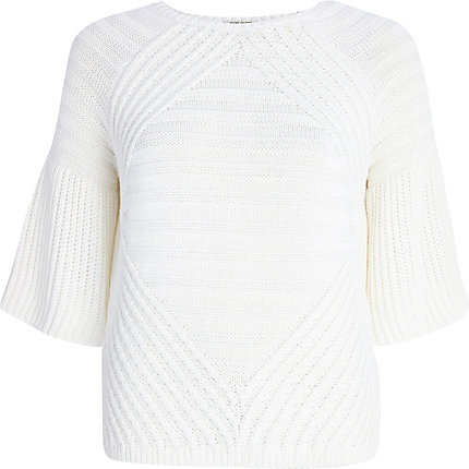 White frill sleeve geometric jumper
