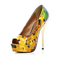 Yellow abstract print platform shoes