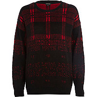 Red check brushed ombre jumper