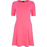 Pink metal plate trim skater dress