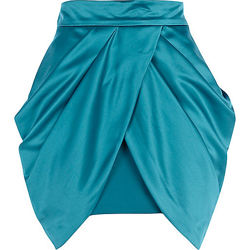 Green draped tulip mini skirt