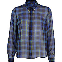 Blue check sheer chain collar shirt
