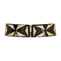 Black and gold applique waist belt