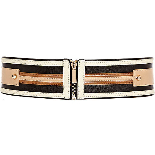 Black colour block applique waist belt
