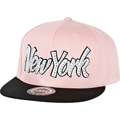 Pink New York embellished trucker hat