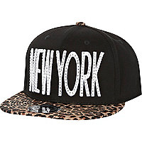 Black New York leopard print peak trucker hat