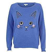 Blue cat face print dolman top
