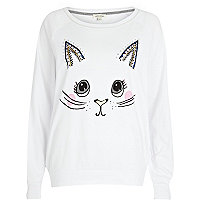 White cat face print dolman top