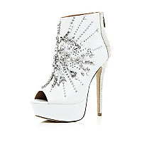 White embellished open toe shoe boots